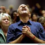 Lou Engle the founder of the Call and his wife Therese Engle take part in one of Engle's religion rallies at Jubilee Christian Center in San Jose, Calif., on Friday night.