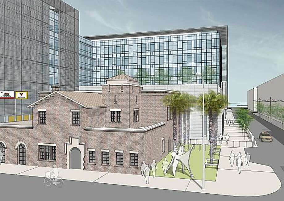 The planned Public Safety Building in San Francisco's Mission Bay would frame a historic fire station with six stories of offices and other civic space. Photo: See Notes, SEE NOTES