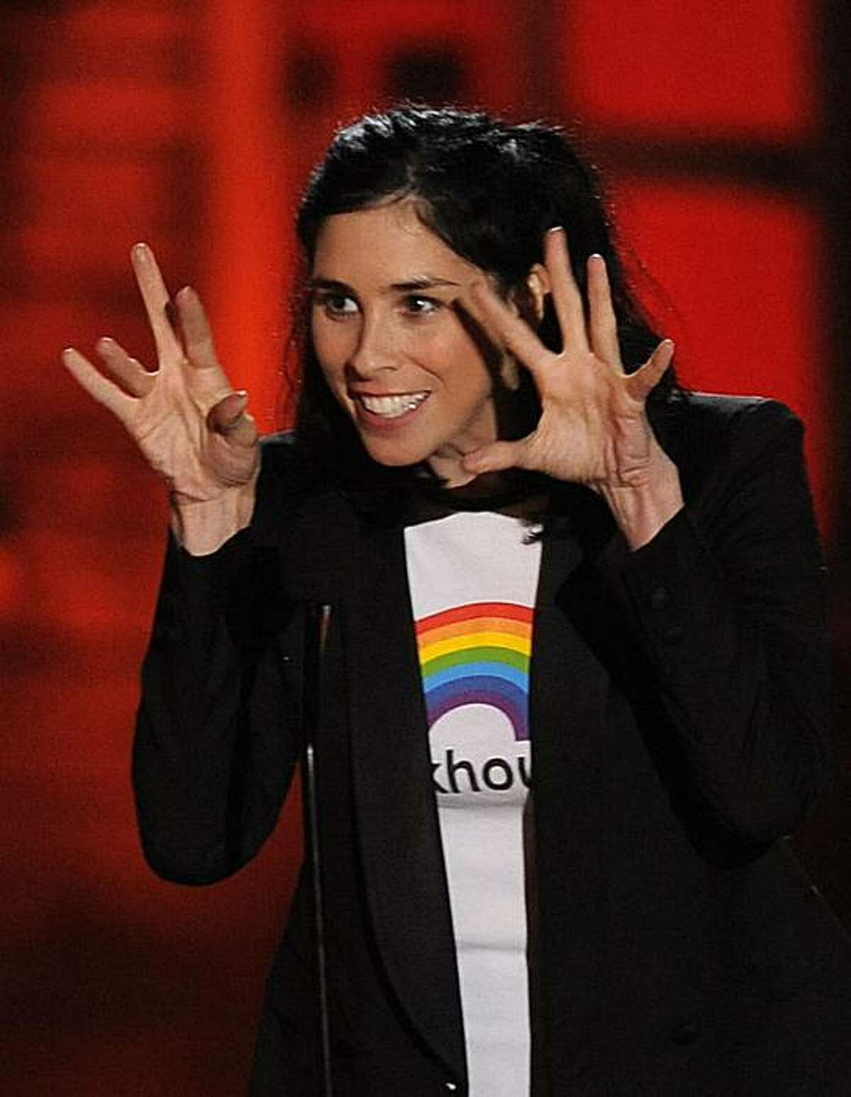 Sarah Silverman is seen on stage at the Scream Awards on Saturday Oct. 16, 2010, in Los Angeles.