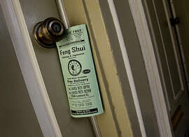 This flat on Montgomery Street had a leaflet attached to the door knob. New legislation proposed by the San Francisco Board of Supervisors may limit the leafleting on front doors and gates in San Francisco, Calif. Monday January 24, 2011.