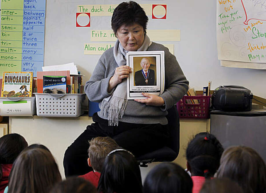 Teacher Joanne Kataoka educates her third-grade students about her uncle, Fred Korematsu, at Lorenzo Manor Elementary School in San Lorenzo, Calif., on Friday, Jan. 28, 2011. This Sunday marks the first Fred Korematsu Day in California which honors the Japanese-American who was jailed after he defied a federal order to report to an internment camp during World War II. He was later awarded the Presidential Medal of Freedom by President Clinton in 1998. Photo: Paul Chinn, The Chronicle