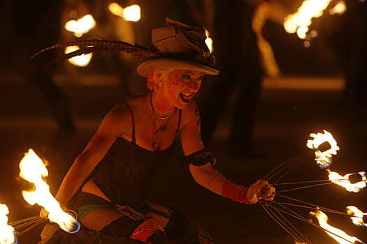Fire dancers performed before the actual burning of the man at Black Rock City., NV.,  on September 5, 2009. Photo: Frederic Larson, The Chronicle