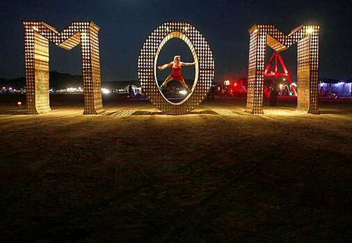 "A sculpture spells out ""mom""  which sits out on the playa at the Burning Man festival in Black Rock City., NV on September 3, 2009. Photo: Frederic Larson, The Chronicle"