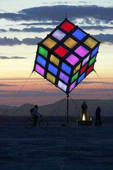 A colorful cube is one of several free standing art structures on the playa at Burning Man on September 3, 2009. Photo: Frederic Larson, The Chronicle