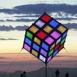 A colorful cube is one of several free standing art structures on the playa at Burning Man on September 3, 2009.