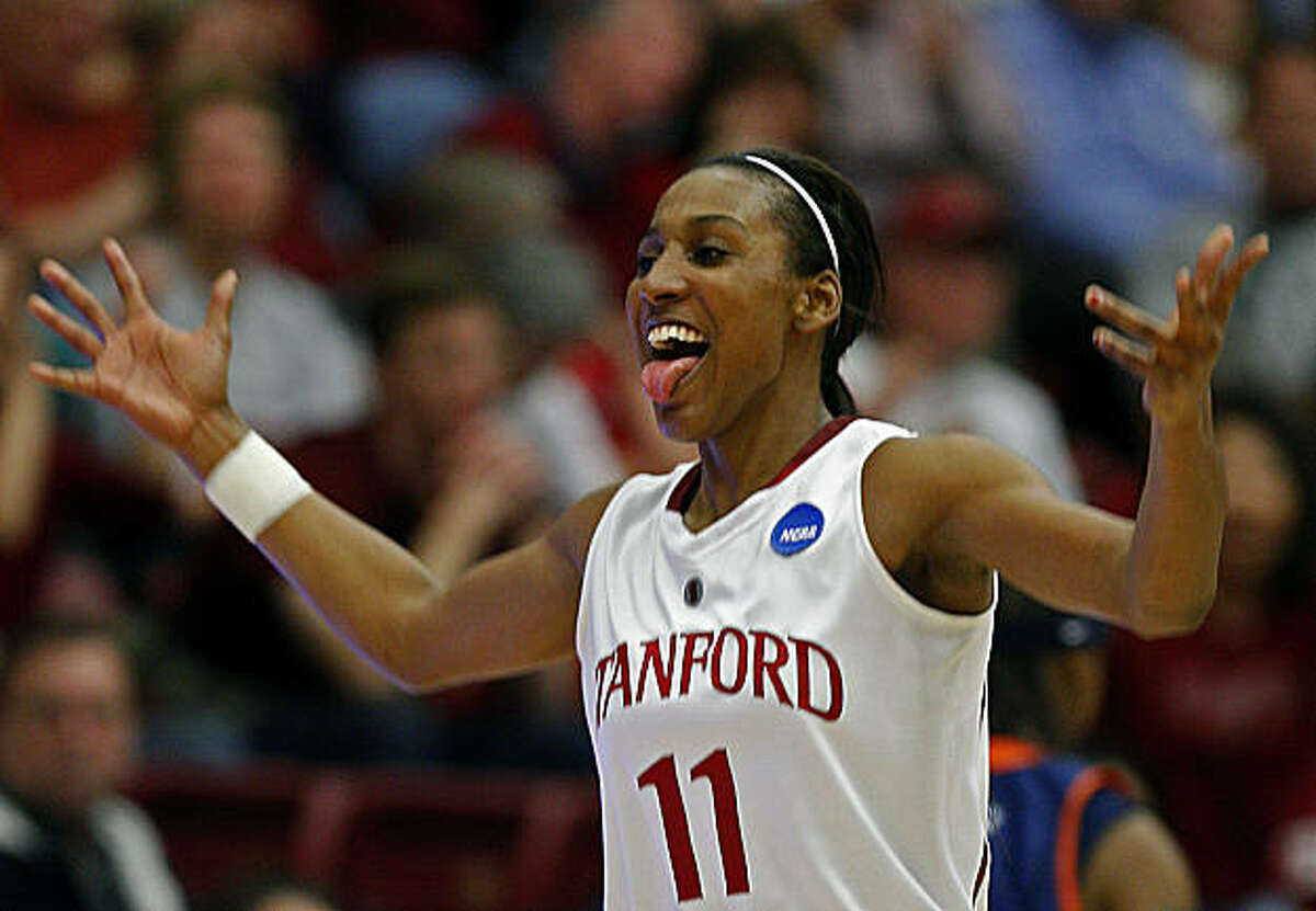 Candice Wiggins celebrates after scoring 44 points in the game on Monday March 24 2008 in Stanford, Calif.