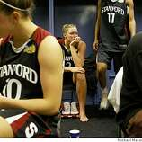 A somber Stanford locker room with,  Stanford's  Jillian Harmon, left,  JJ Hones front and Stanford's Jayne Appel,.background. Stanford Cardinals battle the Lady Volunteers of Tennessee in the Women's NCAA  Championship game, on April 8, 2008 in Tampa, Floirda.