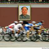 Road Cycling event of the  2008 Beijing Olympics, on Saturday Aug. 09, 2008, riders race past the portrait of Mao Zedong at Tianamen Square in downtown Beijing, China.