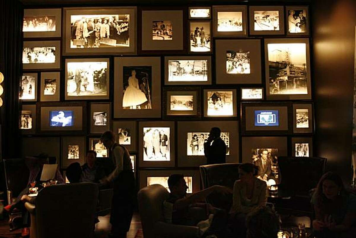 A wall of historic photos decorate the wall at 1300 on Fillmore. The photos were curated by Elizabeth Pepin and Lewis Watts.