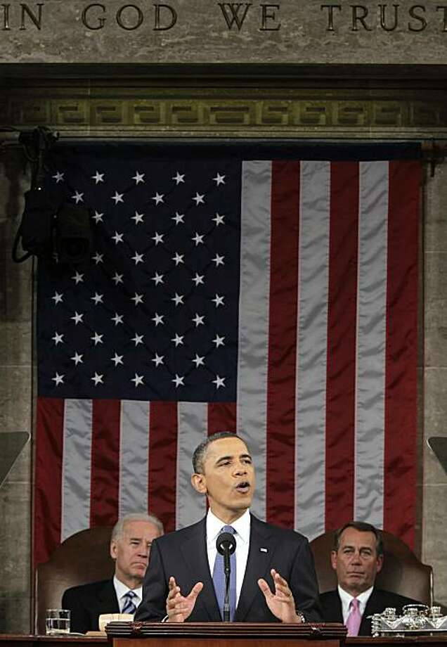 President Barack Obama delivers his State of the Union address on Capitol Hill in Washington, Tuesday, Jan. 25, 2011. Vice President Joe Biden and House Speaker John Boehner of Ohio are at rear. Photo: Pablo Martinez Monsivais, AP