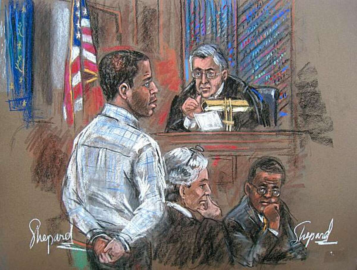 This January 25, 2011 courtroom drawing shows Tanzanian Ahmed Ghailani (L) in court before US District Judge Lewis Kaplan(TOP) with his defense attorneys Peter Quijano(2nd-L) and an unidentified attorney. The first former Guantanamo Bay detainee to be tried in a US civilian court was Tuesday sentenced to life imprisonment without parole for his role in the 1998 bombings of two US embassies in Africa.