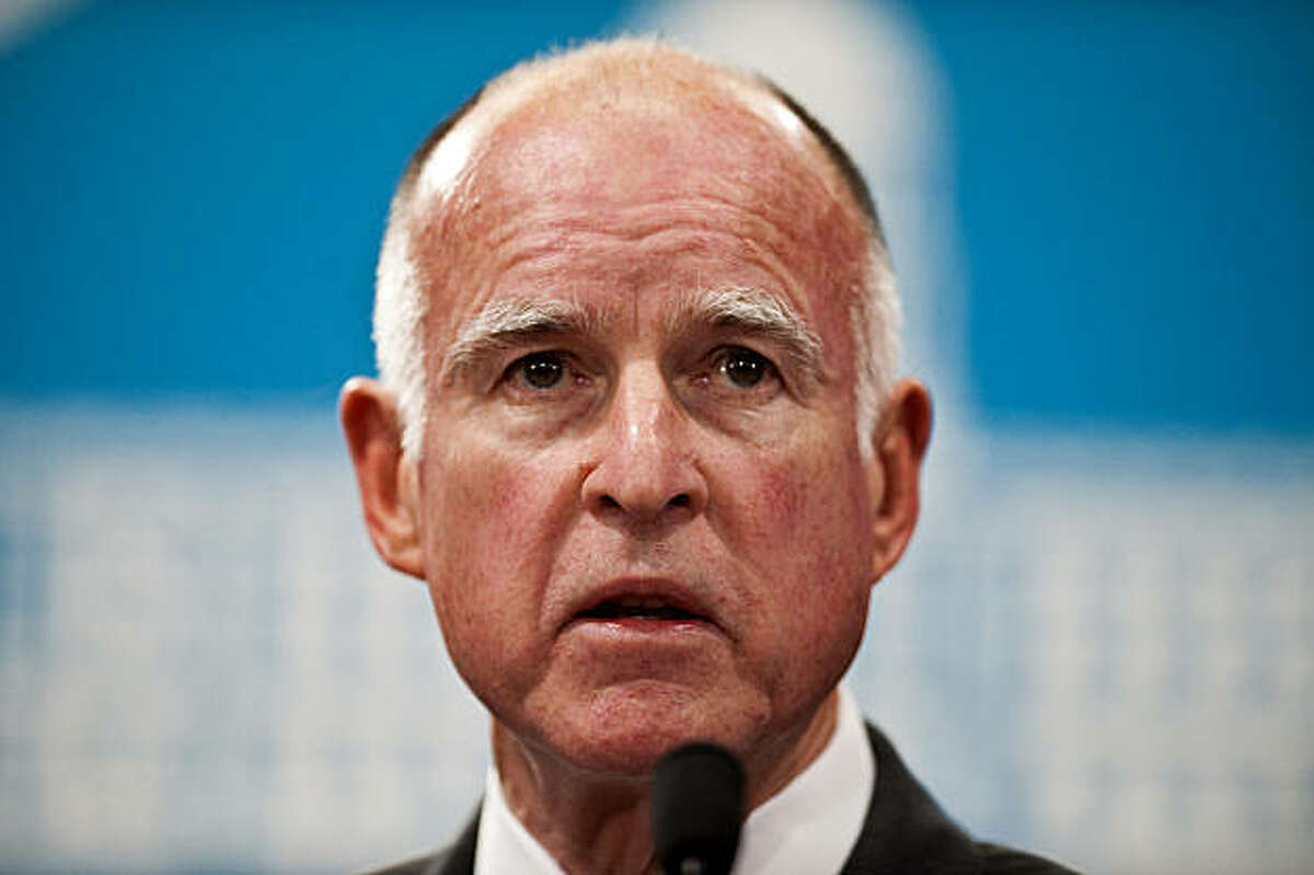California Gov. Jerry Brown speaks to the press after releasing a budget proposal at the State Capitol on Monday, January 10, 2011 in Sacramento, California. (Hector Amezcua/Sacramento Bee/MCT)
