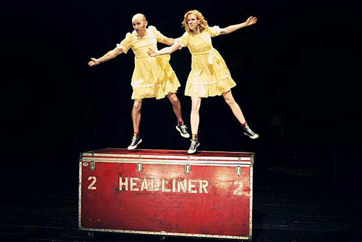 Christopher Kuckenbaker (left) and Beth Wilmurt play a vaudeville duo trying to perfect their act in Z Space's world premiere of