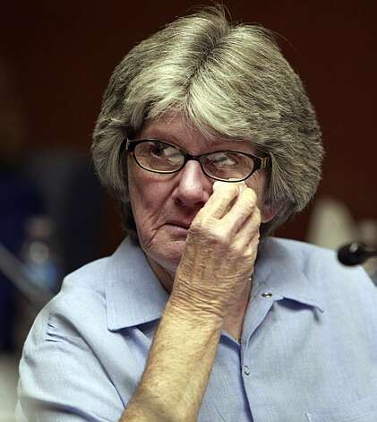 Former Manson family member and convicted murderer Patricia Krenwinkel appears at a parole hearing at the California Institution for Women in Corona, Calif., Thursday, Jan. 20, 2011. Photo: Reed Saxon, AP