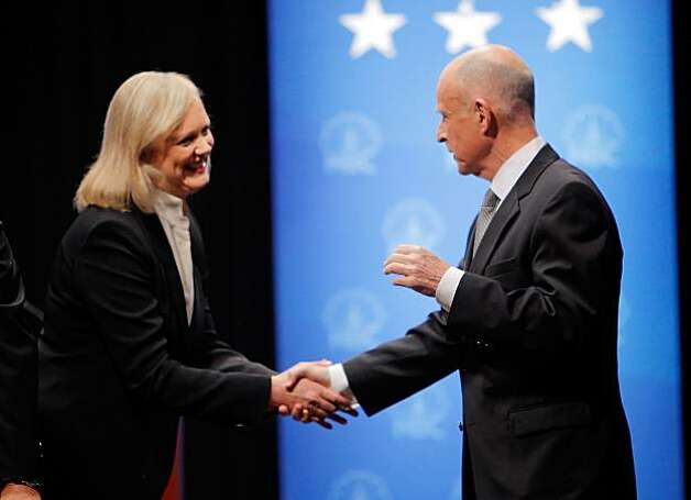 Gubernatorial candidates Jerry Brown and Meg Whitman shake hands before their debate at Dominican University in San Rafael on Tuesday. Photo: Carlos Avila Gonzalez, The Chronicle