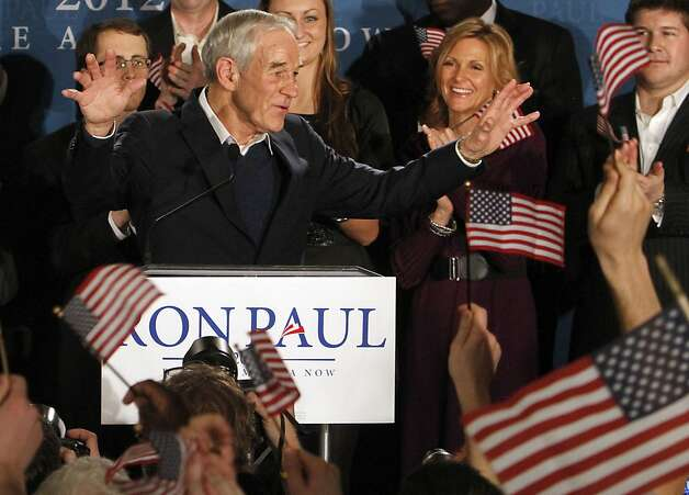 Republican presidential candidate, Rep. Ron Paul, R-Texas, speaks to supporters during an election night really in Manchester, N.H., Tuesday, Jan. 10, 2012. (AP Photo/Bill Sikes) Photo: Bill Sikes, Associated Press