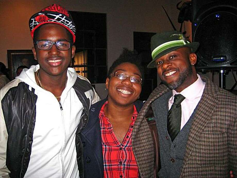 Youth Speaks student Obasi Davis (left) with YS grad Ebony Donnley and YS Artistic Director Marc Bamuthi Joseph. Jan. 2010. By Catherine Bigelow. Photo: Catherine Bigelow, Special To The Chronicle