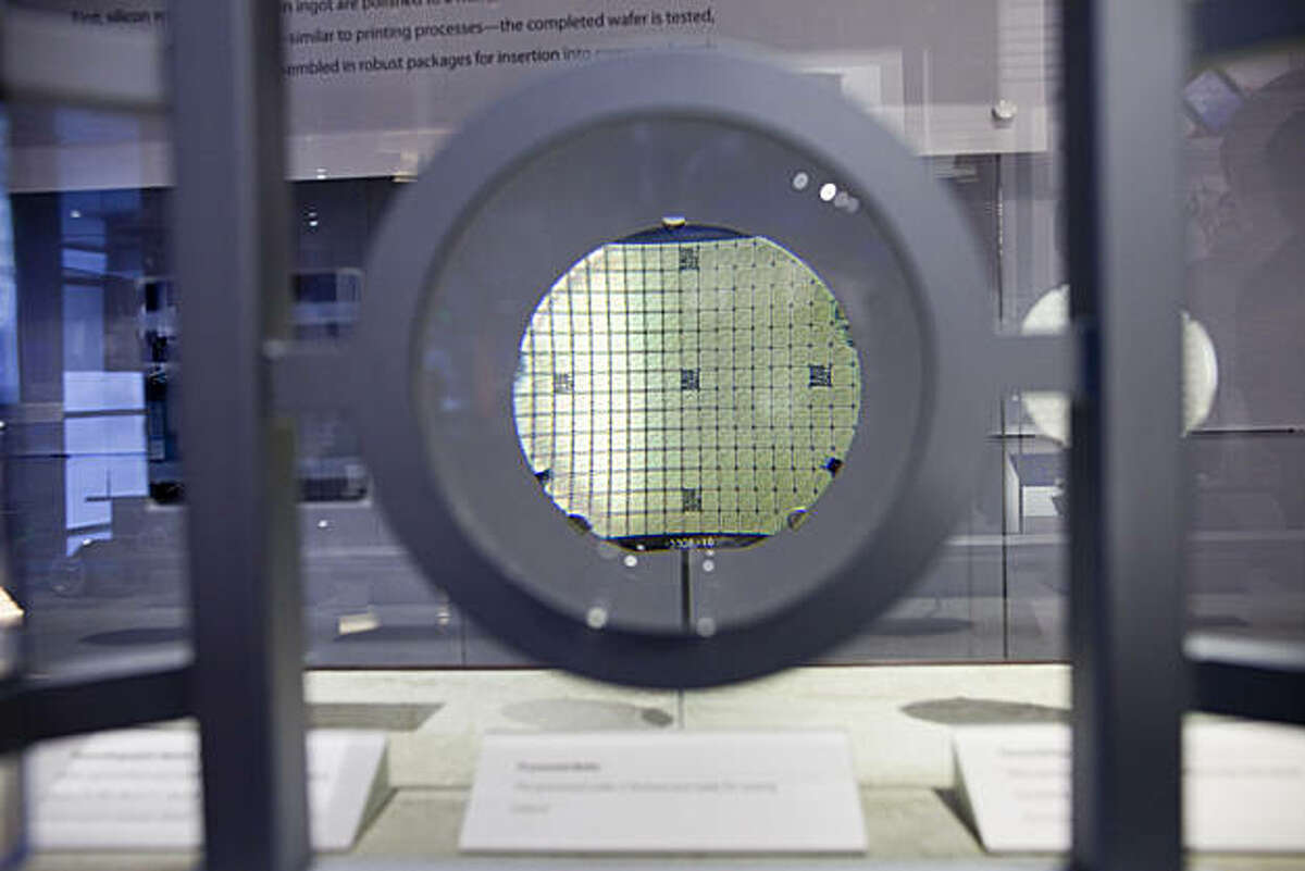 A magnified view of a processed wafer at the Computer History Museum on January 15, 2011 in Mountain View, Calif. Photograph by David Paul Morris/Special to the Chronicle