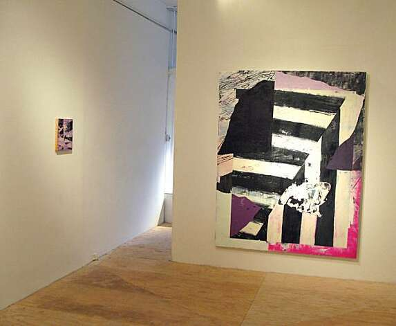 "Installation view of ""With Edits: New Work by Jay Nelson"" at Triple Base Gallery, showing ""Purple Transfer"" (2010-11) oil on canvas on panel (left) and ""New Combination"" (2010-11) oil on canvas on panel (right), and temporary wall and plywood floor Photo: Dina Pugh, Triple Base, S.f."