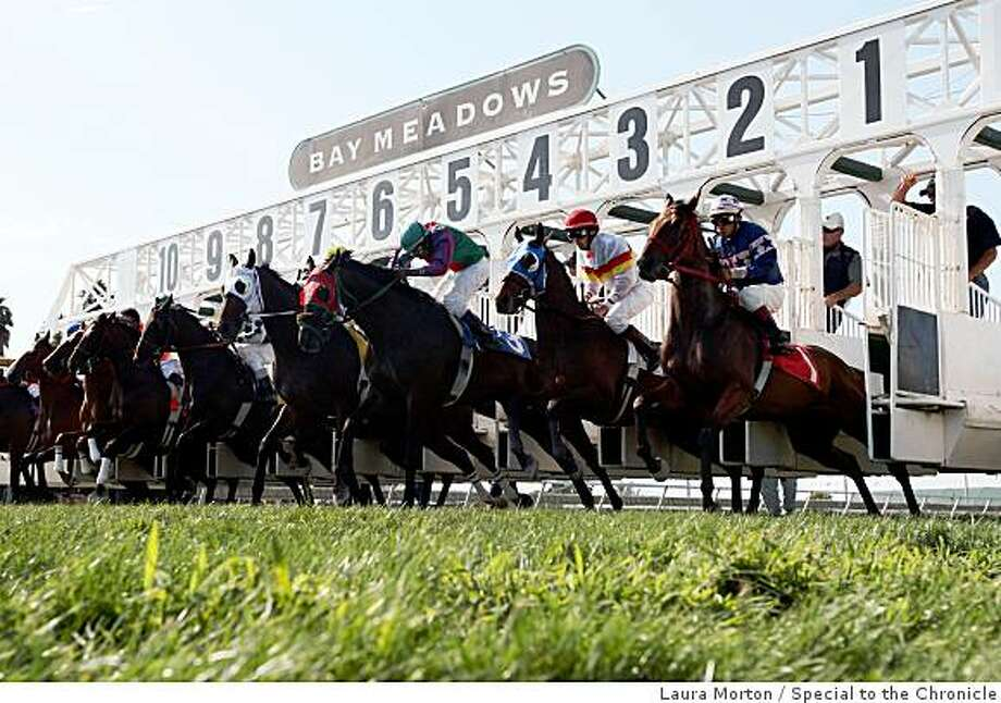 Horses break from the starting gate in the 6th race during the last day of racing at Bay Meadows in San Mateo, Calif., on Sunday, August 17, 2008. Photo: Laura Morton, Special To The Chronicle