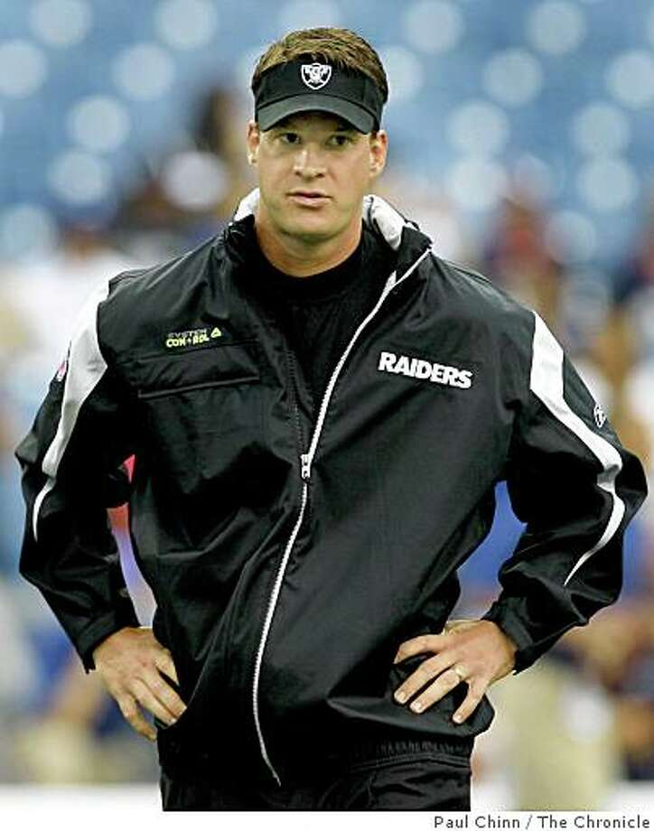 Oakland Raiders head coach Lane Kiffin watches his team warm-up before the game against the Buffalo Bills at Ralph Wilson Stadium in Orchard Park, N.Y., on Sunday, Sept. 21, 2008. Photo: Paul Chinn, The Chronicle