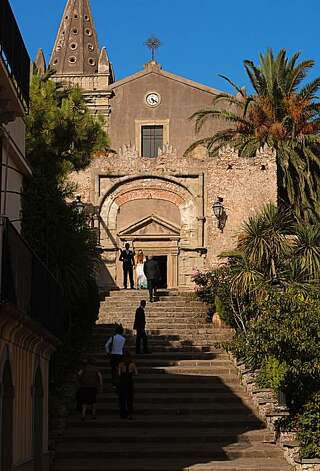 "Chiesa Madre di Forza D'Agro in Forza d'Agro, Sicily. This church appears in ""The Godfather Part II,"" in the scene when Vito escapes to America hidden in a donkey, while Don Ciccio's men threaten the neighbors. In ""The Godfather Part I,"" the church appears when Michael goes to Corleone for the first time along with his bodyguards. Photo: Chris Hardy, Special To The Chronicle"