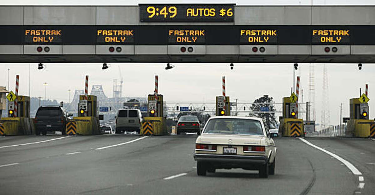 Bay Bridge commuters crossing the bridge during peak hours pay two dollars more than off peak travelers. Tuesday Jan 11, 2011.