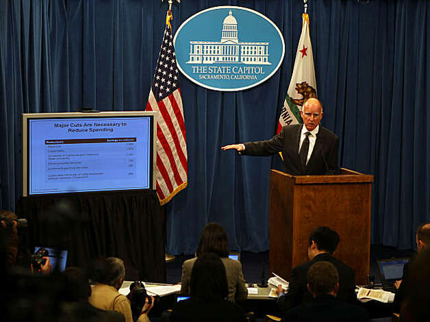 Governor Jerry Brown introduces his January budget proposal on Monday morning, January 10, 2011, at the state capitol in Sacramento, Calif.Governor Jerry Brown introduces his January budget proposal on Monday morning, January 10, 2011, at the state capitol in Sacramento, Calif. Photo: Liz Hafalia, The Chronicle
