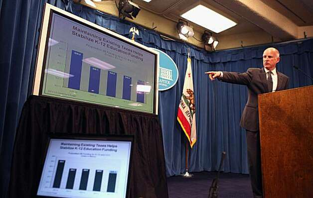 "California Governor Jerry Brown points to a chart as he speaks to reporters as he announces his proposed budget at the California State Capitol on January 10, 2011 in Sacramento, California. Governor Brown announced a balanced state budget that cuts spending by $12.5 billion and includes an eight to ten percent cut in take home pay for state employees and proposes a ""vast and historic"" restructuring of government operations. Photo: Justin Sullivan, Getty Images"