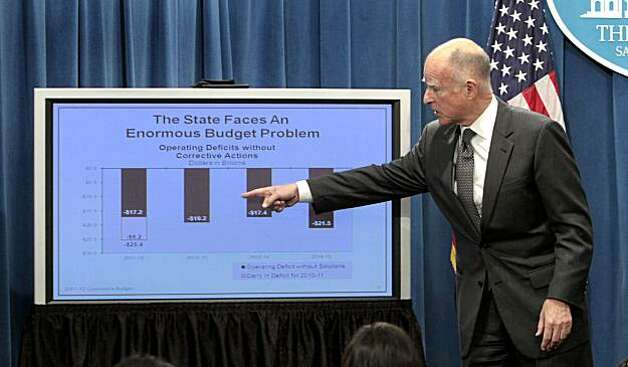 Gov. Jerry Brown points to a chart as he explains his approach to dealing with an estimated $25.4 billion state budget deficit during news conference where he released hi $84.6 billion general fund state spending plan at the Capitol in Sacramento, Calif.,Monday, Jan. 10, 2011. Photo: Rich Pedroncelli, AP