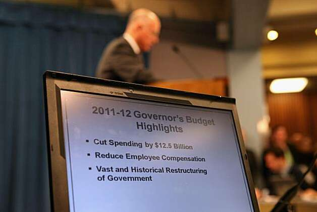 "A laptop shows highlights of California Governor Jerry Brown's proposed budget during a press conference at the California State Capitol on January 10, 2011 in Sacramento, California. Governor Brown announced a balanced statebudget that cuts spending by $12.5 billion and includes an eight to ten percent cut in take home pay for state employees and proposes a ""vast and historic"" restructuring of government operations. Photo: Justin Sullivan, Getty Images"