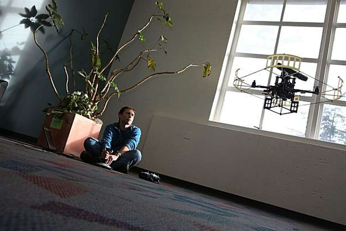 UC Berkeley graduate student Patrick Bouffard hooked a Kinect up to a robot helicopter to help it detect and avoid objects in Berkeley, Calif., on Thursday, December 30, 2010.