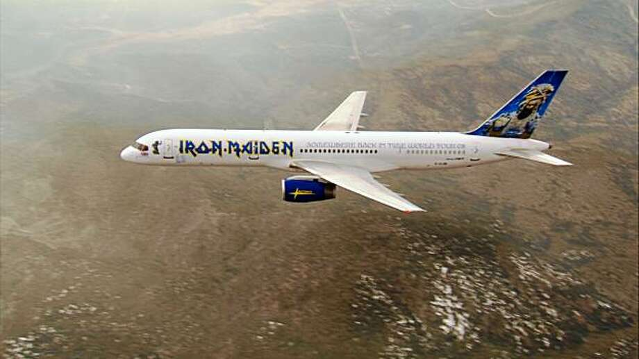 This photo released by Universal Music Enterprises shows the customized Boeing 757 of Iron Maiden and flown by lead singer Bruce Dickinson.(AP Photo/Universal Music Enterprises)**NO SALES** Photo: Universal Music Enterprises