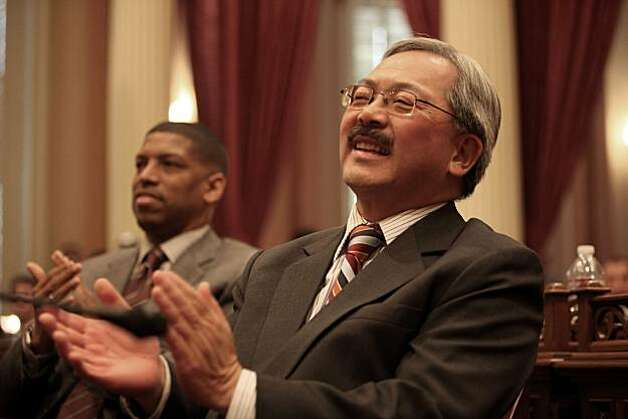Ed Lee (front), San Francisco interim mayor, and mayor Kevin Johnson (left) watch as Gavin Newsom gets sworn in as lieutenant governor by his father, Hon. Judge William Newsom (left) at the state capitol in Sacramento, Calif., on Monday, January 10, 2011. Photo: Liz Hafalia, The Chronicle