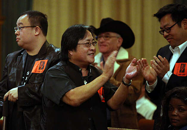 Left to right-- David Ho, Reverend Norman Fong, and Malcolm Young happy to see city administrator Ed Lee appointed in a non binding vote as interim mayor at the board of supervisors chamber in San Francisco, Calif., on Friday, January 7, 2011. Photo: Liz Hafalia, The Chronicle