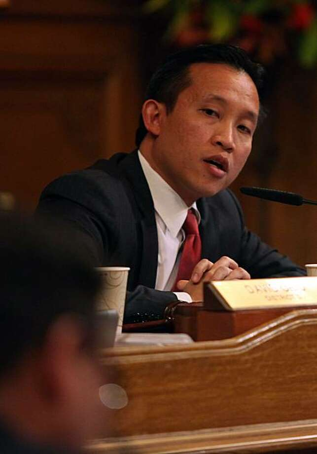 San Francisco city supervisor David Chiu calls to vote in appointing city administrator Ed Lee as an interim mayor at the board of supervisors chamber in San Francisco, Calif., on Friday, January 7, 2011. Photo: Liz Hafalia, The Chronicle