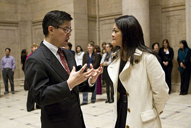 Asian Art Museum Director Jay Xu speaks with San Francisco Supervisor Carmen Chu before a press conference to discuss the museum's financial situation at the museum in San Francisco, Calif., on Thursday, January 6, 2011. Photo: Laura Morton, Special To The Chronicle