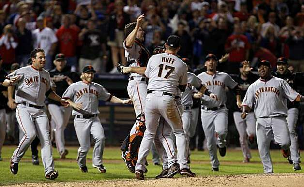 The Giants celebrate their World Series win Monday after beating the Texas Rangers 3-1 in Game 5 at Rangers Ballpark in Arlington. Photo: Lance Iversen, San Francisco Chronicle