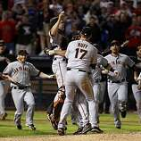 The Giants celebrate their World Series win Monday after beating the Texas Rangers 3-1 in Game 5 at Rangers Ballpark in Arlington.