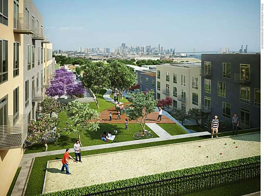 An artist's rendering of what a new residential development atop the hill overlooking Hunters Point Naval Shipyard would look like.  There are 159 units planned -- 66 townhouses and 93 flats -- along with pocket parks and a bocce ball court. Photo: Courtesy Of Lennar