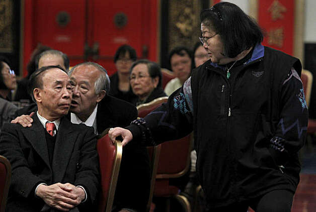 Rose Pak listens in on a conversation between Melvin Lee (left) and Steven Lee (center) at a luncheon in Chinatown to express support for Ed Lee as a potential interim mayor candidate in San Francisco, Calif., on Thursday, Jan. 6, 2011. Neither men are related to Ed Lee. Several leaders in the Chinese community spoke at the reception. Photo: Paul Chinn, The Chronicle
