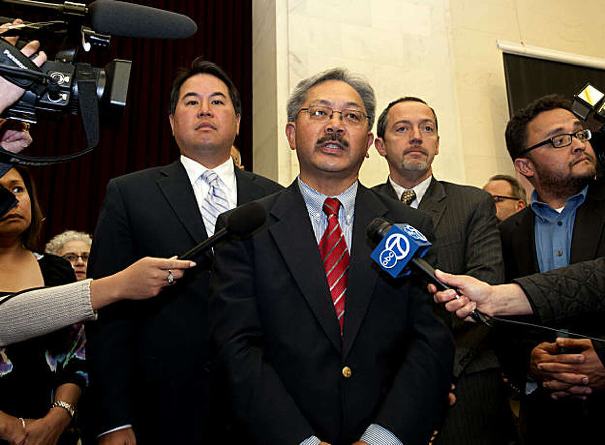 Edwin Lee makes a statement saying that a temporary stay on same sex marriage licenses is in place and that no one will be getting a license today after people in support of the overturning of Proposition 8 attempt to get married at City Hall in San Francisco, Calif., on Wednesday, August 04, 2010.