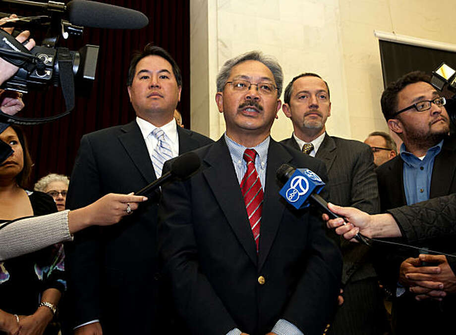 Edwin Lee makes a statement saying that a temporary stay on same sex marriage licenses is in place and that no one will be getting a license today after people in support of the overturning of Proposition 8 attempt to get married at City Hall in San Francisco, Calif., on Wednesday, August 04, 2010. Photo: Chad Ziemendorf, The Chronicle
