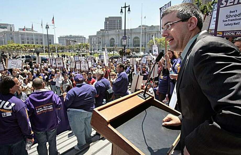 San Francisco Suptervisor Chris Daly addresses the crowd as members of Service Employees International Union Local 1021 hold a rally at San Francisco City Hall on Thursday, May 22, 2008. Photo by Kim Komenich / San Francisco Chronicle Photo: Kim Komenich, The Chronicle