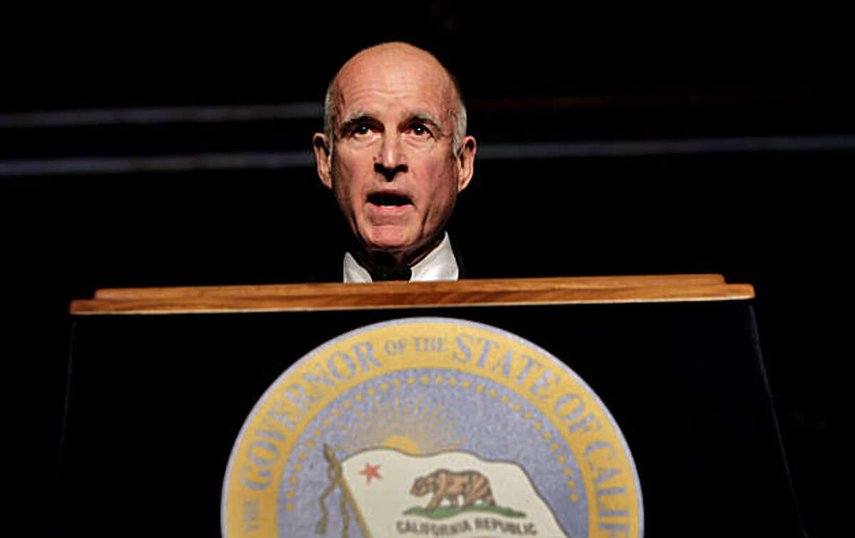 Governor Jerry Brown addressed the audience after he was sworn-in as the 39th Governor of California, Monday Jan. 3, 2011, in Sacramento, Calif.