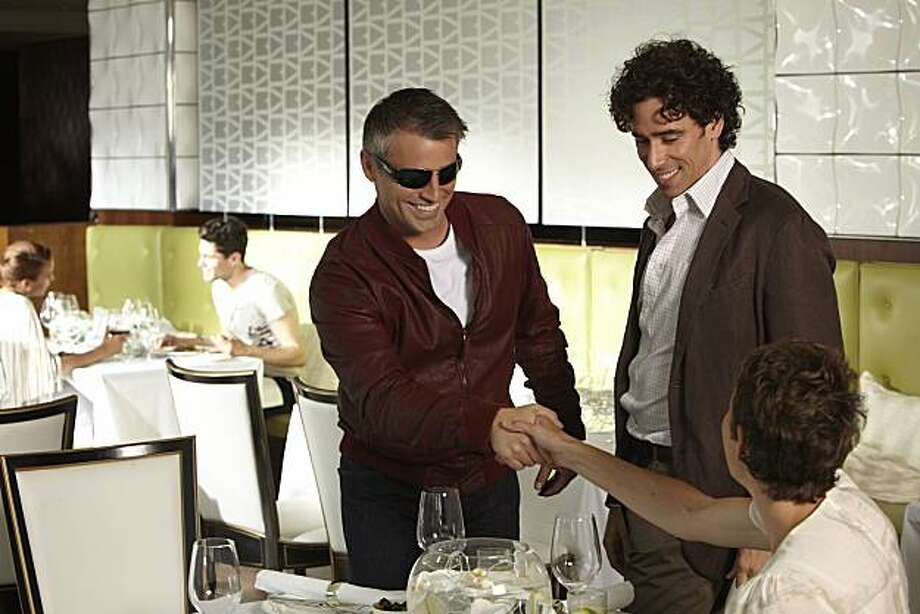 "In this publicity image released by Showtime, Matt LeBlanc starring as himself, left, Stephen Mangan and Tamsin Greig are shown in a scene from the Showtime original series, ""Episodes."" Photo: Colin Hutton, AP"