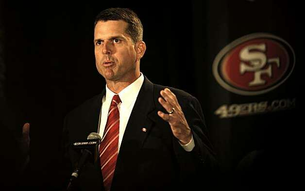 The San Francisco 49ers introduce their new head coach, Jim Harbaugh, at a news conference in San Francisco on Friday. Photo: Michael Macor, The Chronicle
