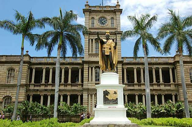 "The statue of King Kamehameha I in front of Ali'iolani Hale in Honolulu appears in the opening sequences of both the original and ""rebooted"" editions of ""Hawaii Five-O."" Photo: Jeanne Cooper, Special To SFGate"