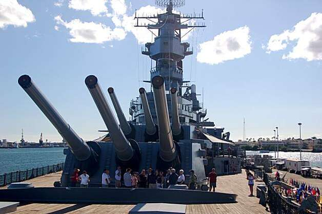 "The scene of Japan's surrender in World War II, the Battleship Missouri plays a minor role in the new version of ""Hawaii Five-O.""  Photo: Jeanne Cooper, Special To SFGate"