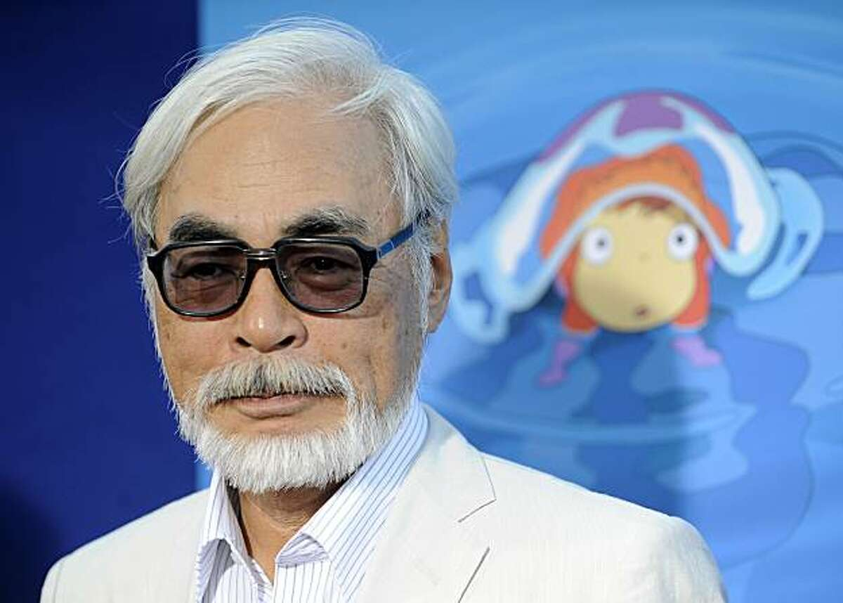 """Hayao Miyazaki of Japan, director of the animated film """"Ponyo,"""" poses at a special screening of the film in Los Angeles, Monday, July 27, 2009."""